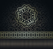 Vintage seamless wallpaper with a ribbon and frame Stock Images