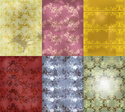 Vintage seamless wallpaper set Stock Images