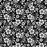 Vintage seamless white floral pattern on a black background. Vector illustration. Royalty Free Stock Photo