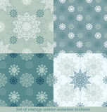 Vintage seamless winter patterns with snowflakes. EPS 10 Royalty Free Stock Photography