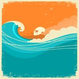 Vintage Seascape with island on old paper poster for text. Ocean royalty free illustration