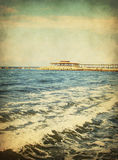 Vintage seascape,Sea waves Stock Photos