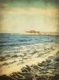 Vintage seascape,Sea waves Stock Photos