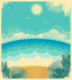 Vintage seascape.Vector background with sea Stock Photography