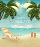 Vintage seaside background with a beach chair and flip-flops. Royalty Free Stock Photography