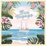 Vintage seaside summer view poster. Seascape, ship, flowers. Vector background, illustrations royalty free illustration