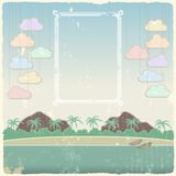 Vintage seaside view poster template. Vector Royalty Free Stock Photography
