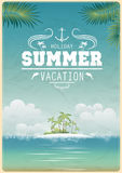 Vintage seaside view poster vector illustration