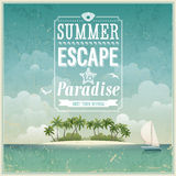 Vintage seaside view poster. Royalty Free Stock Photo