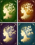 Vintage seasonal women's profiles Royalty Free Stock Photos