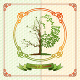 Vintage seasons template with subtle colors change from Spring to Summer Stock Photo