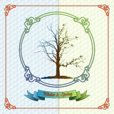 Vintage seasons template with subtle colors change from Winter to Spring Stock Photos