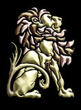 Vintage seated lion motif. Seated lion, inspired by old woodcut & set in metal stock illustration
