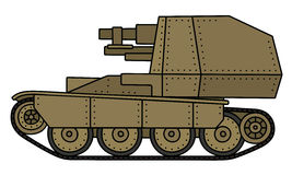 Vintage self propelled gun. Hand drawing of a vintage sand self propelled gun Royalty Free Stock Photo