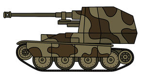 Vintage self propelled gun. Hand drawing of a vintage sand and brown self propelled gun Stock Images