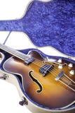 Vintage semi-acoustic bass guitar Stock Photos