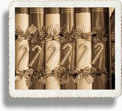 Vintage Sepia Christmas crackers background. Royalty Free Stock Photography