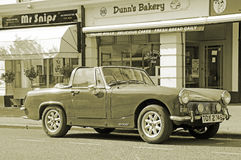 Vintage sepia mg midget car Stock Images