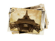 Vintage sepia postcard of Eiffel tower Stock Photography