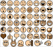 Vintage sepia retro style emoticon set stock illustration