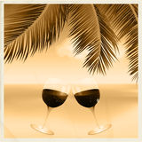 Vintage sepia tropical scene with wine glasses Stock Photos