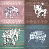 Vintage set of banners with ethnic elephants Royalty Free Stock Photography
