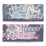Vintage set of banners with ethnic elephants Stock Images