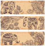 Vintage set of banners with ethnic elephants Royalty Free Stock Photo