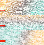 Vintage set of banners with ethnic waves Stock Photos