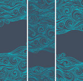 Vintage set of banners with ethnic waves Royalty Free Stock Photo