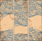 Vintage set of banners with ethnic waves Royalty Free Stock Photography