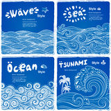 Vintage set of banners with ethnic waves Stock Images