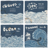 Vintage set of banners with ethnic waves Stock Photography