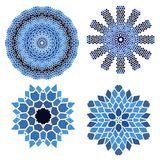 Vintage set blue with black  mosaic petal flower Stock Photos