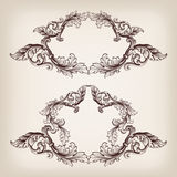 Vintage set border frame engraving baroque vector Stock Photos