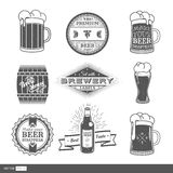 Vintage set with brewery labels. Different kinds of beer glasses and design elements on brewery theme. Vector illustration. EPS 10 stock illustration
