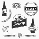 Vintage set of brewery logos, labels and design element. Stock vector. Stock Photo