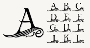 Vintage Set 1. Calligraphic capital letters with curls for Monograms, Emblems and Logos. Beautiful Filigree Font. Is at Conceptual wing or waves . Baroque stock illustration