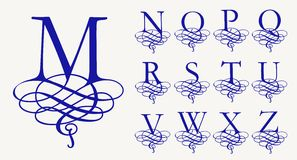 Vintage Set 2. Calligraphic capital letters with curls for Monograms and Logos. Beautiful Filigree Font. Baroque style royalty free illustration