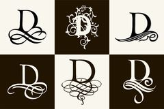 Vintage Set . Capital Letter D for Monograms and Logos. Beautiful Filigree Font. Victorian Style. Stock Images