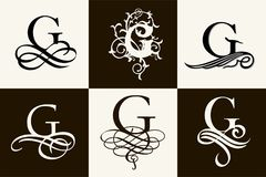 Vintage Set . Capital Letter G for Monograms and Logos. Beautiful Filigree Font. Victorian Style. Royalty Free Stock Image