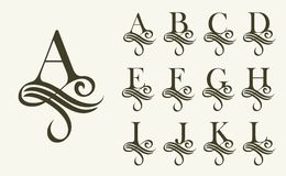 Vintage Set1 . Capital Letter for Monograms and Logos. Beautiful Filigree Font. Victorian Style.  vector illustration