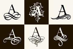 Vintage Set . Capital Letter A for Monograms and Logos. Beautiful Filigree Font. Victorian Style. Royalty Free Stock Images