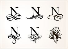 Vintage Set . Capital Letter N for Monograms and Logos. Beautiful Filigree Font. Victorian Style. Royalty Free Stock Image