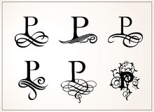 Vintage Set . Capital Letter P for Monograms and Logos. Beautiful Filigree Font. Victorian Style. Royalty Free Stock Photos