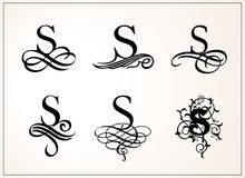 Vintage Set . Capital Letter S for Monograms and Logos. Beautiful Filigree Font. Victorian Style. Stock Photography
