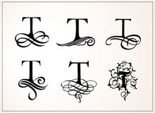 Vintage Set . Capital Letter T for Monograms and Logos. Beautiful Filigree Font. Victorian Style. Stock Photos