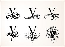 Vintage Set . Capital Letter V for Monograms and Logos. Beautiful Filigree Font. Victorian Style. Stock Photo