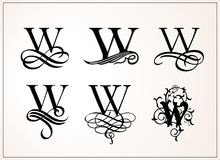 Vintage Set . Capital Letter W for Monograms and Logos.  Royalty Free Stock Photography