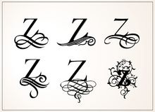 Vintage Set . Capital Letter Z for Monograms and Logos. Beautiful Filigree Font. Victorian Style. Royalty Free Stock Photography